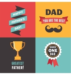 Happy fathers day greeting cards set vector