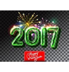 Happy new 2017 year firework invitation vector