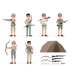 Hunter huntsman gamekeeper forester and archer vector