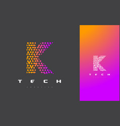 k letter logo technology connected dots letter vector image vector image