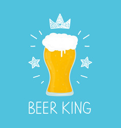 king glass of beer cartoon flat and vector image vector image