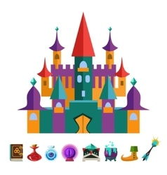 Medieval Fortress and Elements for Games vector image vector image