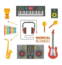 Musical instruments flat icons vector image
