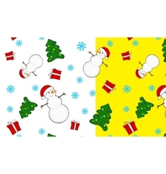 seamless Christmas pattern snowmen vector image vector image