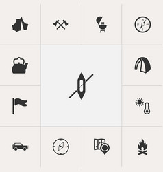 set of 13 editable trip icons includes symbols vector image