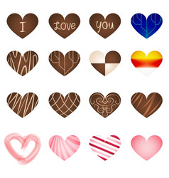 Set of art milk chocolate in heart shape vector