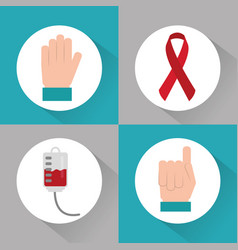 Set of icons hemophilia blood campaing vector