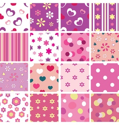 set of kid seamless patterns vector image vector image
