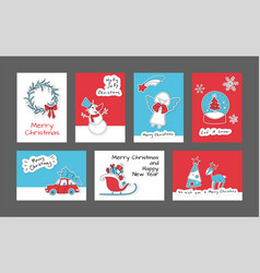 set of merry christmas and happy new year cards vector image vector image