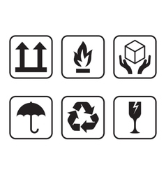 Set of symbols for cardboard boxes vector image vector image