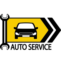 sign with car wrench and arrow vector image