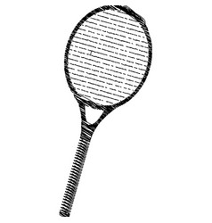 Silhouette drawing tennis racket element sport vector