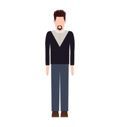Silhouette man with van dyke beard vector