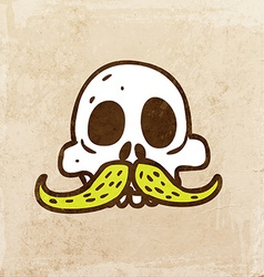 Skull with Moustache Cartoon vector image vector image