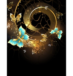 Spiral with Gold Butterflies vector image