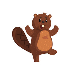 Surprised beaver with happy muzzle cartoon rodent vector