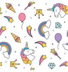 Unicorn and rainbow seamless pattern isolated on vector