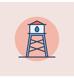 Water tower flat icon vector