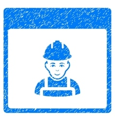 Worker calendar page grainy texture icon vector