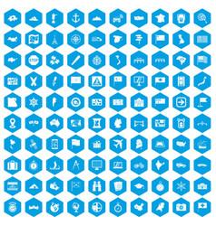 100 cartography icons set blue vector