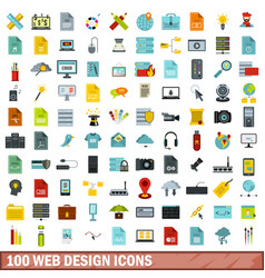 100 web design icons set flat style vector image vector image