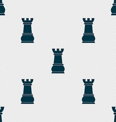 Chess rook sign seamless pattern with geometric vector