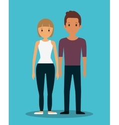 Romantic heterosexual couple full body icon image vector