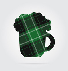 Green black tartan isolated icon - beer with foam vector