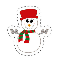 snowman winter decorative cut line vector image