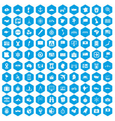 100 cartography icons set blue vector