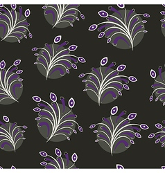 Seamless floral pattern on black vector image