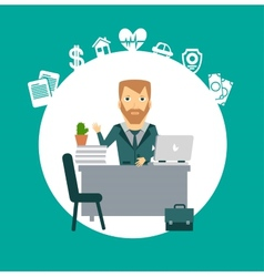 Insurance agent sitting at a desk vector