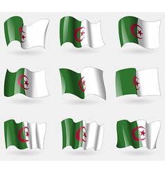 Set of algeria flags in the air vector
