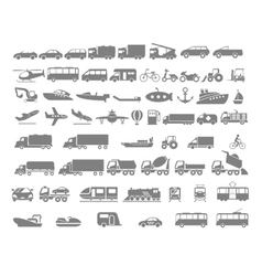 Vehicle and transportation flat icon set vector