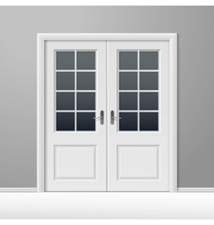 White closed door with frame vector