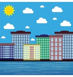 City by the sea on a sunny day vector