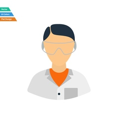 Flat design icon of chemist in eyewear vector