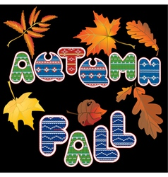 Set of isolated autumn forest leafs and words vector