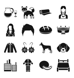 alcohol animal style and other web icon in black vector image vector image