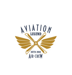 Aviation pilot legend icon of airplane vector