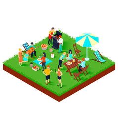 bbq picnic isometric vector image