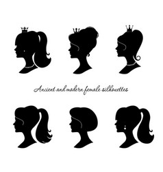 Beautiful female silhouettes set modern and vector