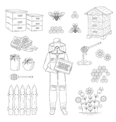 Beekeeper and honey set vector