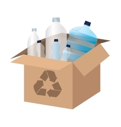 Box carton with recycle symbol vector