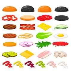 Burger ingredients set vector