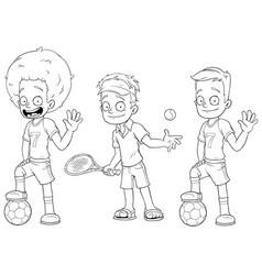 Cartoon football tennis players character set vector