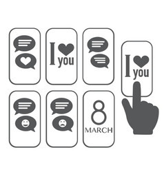 chat icon love message vector image