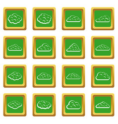 Clouds icons set green vector