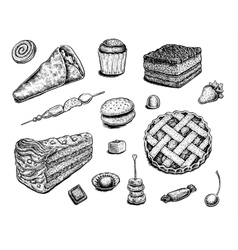 Collection of hand drawn ink desserts vector