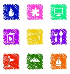 colorful grungy icons set vector image